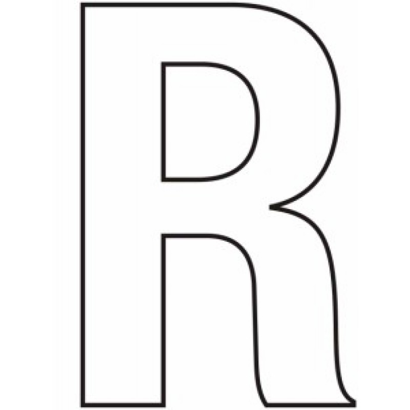 75mm White Helvetica Bold Condensed Style Vinyl Letter R on Architectural Drawing Tools