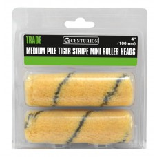 """100mm (4"""") Medium Pile Tiger Striped Mini Roller Heads (Pack of 2)"""