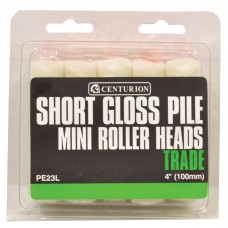 """100mm (4"""") Short Gloss Pile Mini Roller Heads **Please note quantity is Indiv Roller Heads"""