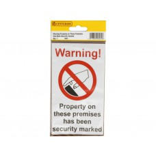 89mm x 150mm Home Safe Pack 'Warning Property On...' (Pack of 2)