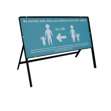 *2 METRES*  Be socially safe Temp sign - 1050 x 450mm – Turquoise (Metal Frame, ACP sign)