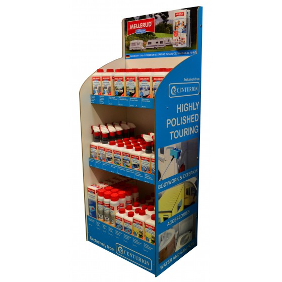 Mellerud Caravan & Motorhome MDF Merchandiser complete with stock. Comes with best selling Mellerud Caravan Range including Shampoo, Polish, Heavy Duty Cleaners and much more.