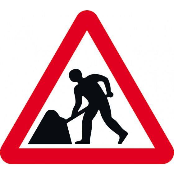Road Works - TriFlex Roll up traffic sign (900mm Tri)