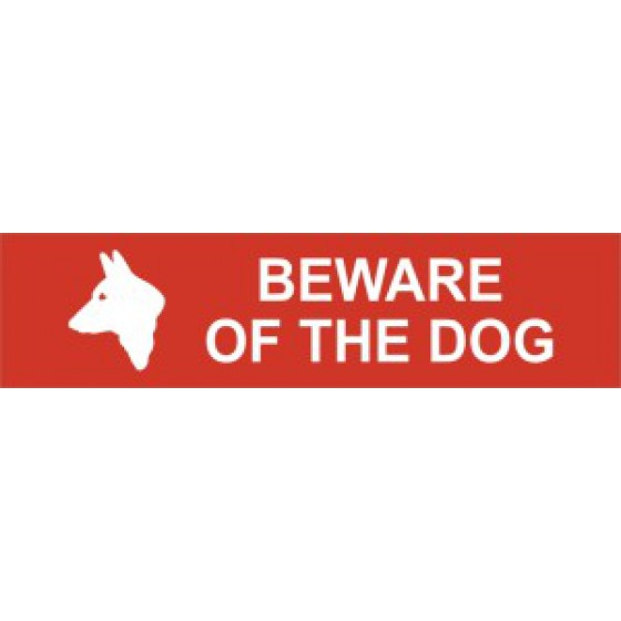 Sign/Sticker - Beware of the dog - PVC (200 x 50mm)