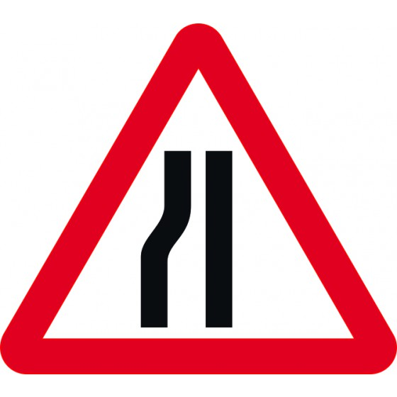Road narrows nearside - Classic Roll up traffic sign (600mm Tri)