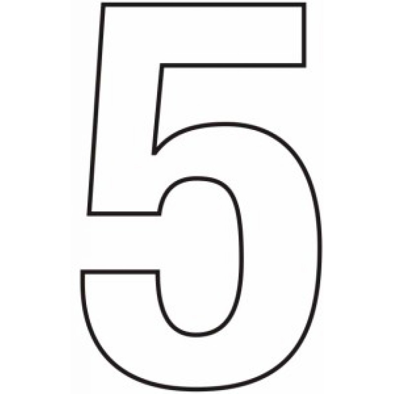 75mm White Helvetica Bold Condensed Style Vinyl Number 5
