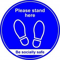 400mm Floor Graphic Please stand here - Blue