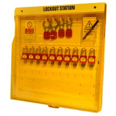 Lockout Board - Large 10 Station & Pocket with Cover