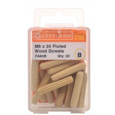 M6 x 30 Fluted Wood Dowels (Pack of 20)