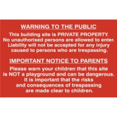 Building site Warning to public and parents - PVC (600 x 400mm)
