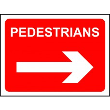 Pedestrians arrow right - Classic Roll up traffic sign (600 x 450mm)