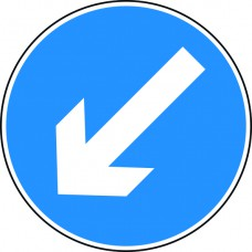 Keep left arrow - Classic Roll up traffic sign (600mm)