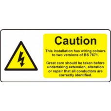 Caution - Two Wiring Colours Present - SAV (95 x 45mm, sheet of 12 labels)
