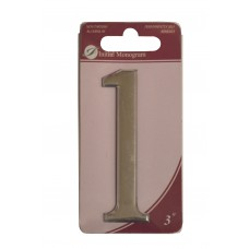 """3"""" Silver Effect Numeral 1"""