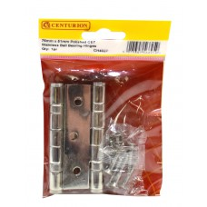 76mm x 51mm Polished CE7 Stainless Ball Bearing Hinges