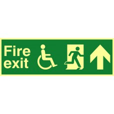 Disabled fire exit man running arrow up - PHS (450 x 150mm)