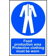 Food production area Protective clothing must be worn - PVC (200 x 300mm)