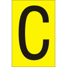 75mm Yellow Vinyl - Character 'C'   (Pack of 10)