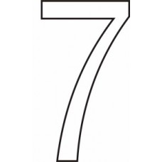 75mm White Vinyl - Character '7'   (Pack of 10)
