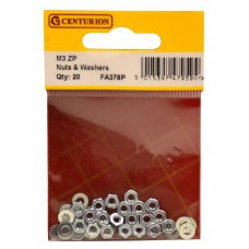 M3 ZP Nuts & Washers (Pack of 20)
