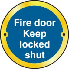 Fire door Keep locked shut door disc - PB (75mm dia.)