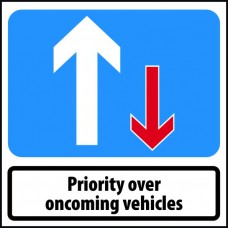750 x 750mm Temporary Sign - Priority to oncoming vehicles