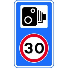 420 x 720mm Dibond '30mph speed limit - Speed camera symbol' Road Sign (without channel)