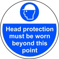 400mm dia. Head protection must be worn beyond Floor Graphic