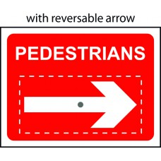 Pedestrians with reversible arrow - Classic Roll up traffic sign (600 x 450mm)