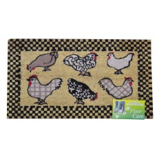 Mats -  'Chickens' Tufted Coir Brush Mat with Vinyl Base - 45 x 75cm