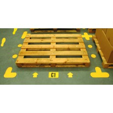 Warehouse Floor Signalling yellow '+' Shape - Pack of 10 -  (300 x 300mm)