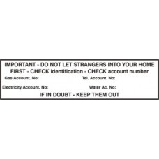 Do not let strangers into your home (Identification check) - PVC (200 x 50mm)
