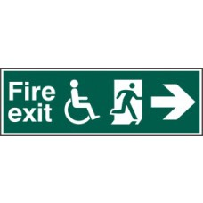 Disabled fire exit man running arrow right - PVC (450 x 150mm)
