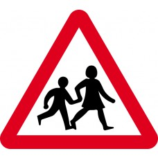 600mm tri. Dibond 'Children going to or from school or playground ahead' Road Sign (with channel)