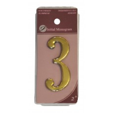 """2"""" Gold Effect Numeral 3"""