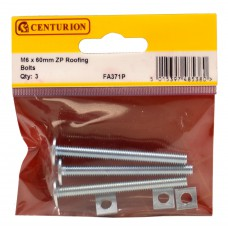M6 x 60mm ZP Roofing Bolts (Pack of 3)