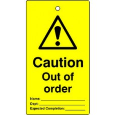 Lockout tags - Caution Out of order (Single sided 10 pack)