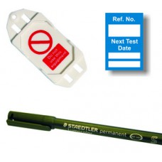 Next Test Mini Tag Insert Kit - Blue (20 AssetTag holders, 40 inserts, 1 pen)