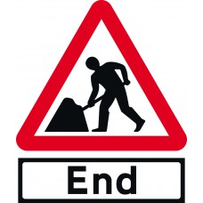 Road works & End Supp plate - Classic Roll up traffic sign (600mm Tri)