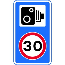 420 x 720mm Dibond '30mph speed limit - Speed camera symbol' Road Sign (with channel)