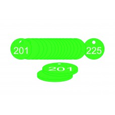 33mm dia. Traffolite Tags - Green (201 to 225)