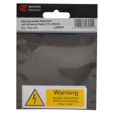 Warning Isolate Elsewhere - Pack of 5 PVC (75 x 25mm)