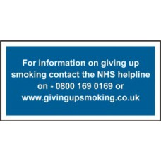 For information on giving up smoking contact - RPVC (300 x 150mm)