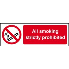 All smoking strictly prohibited - RPVC (300 x 100mm)