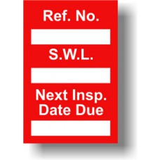 Safe Working Load Mini Tag Insert - Red (Pack of 20)