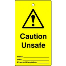 Lockout tags - Caution Unsafe (Single sided 10 pack)