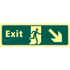 Exit man running arrow down/right - TaktylePh (450 x 150mm)
