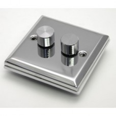 Polished Chrome Double Dimmer Switch