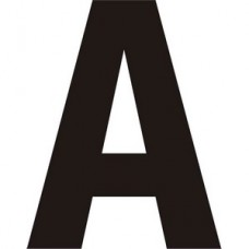 75mm Black Helvetica Bold Condensed Style Vinyl Letter A   (Pack of 10)
