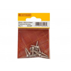 4mm x 30mm Stainless Steel Chipboard Screws CRCS Head Countersunk (Pack of 9)